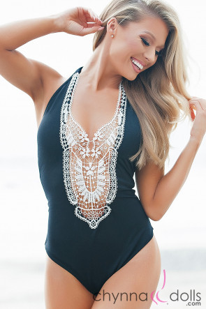 Florence Crochet Halter One Piece Black