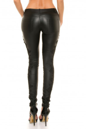Leatherlook Pants with Lace