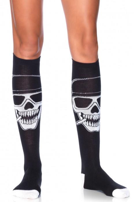 Leg Avenue Biker Babe skeleton knee highs Svart-Black