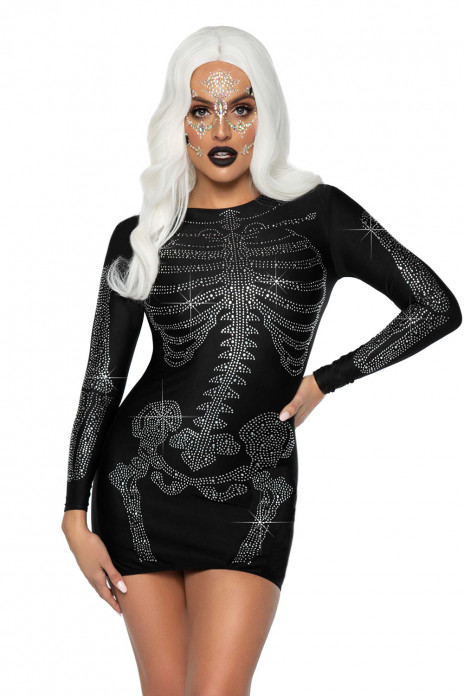 Rhinestone Skeleton Dress Black