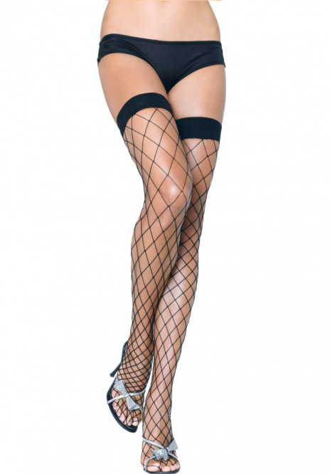 Black Fence Net Thigh Highs
