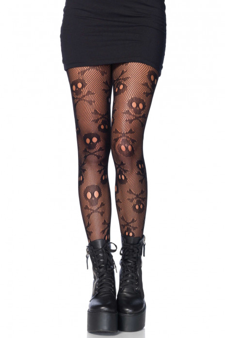 Pirate skull net pantyhose