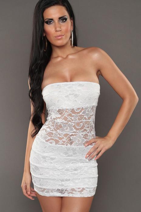 White Bandeau Lace Minidress