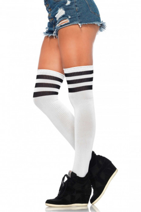 3 Stripes Athletic Ribbed Thigh Highs