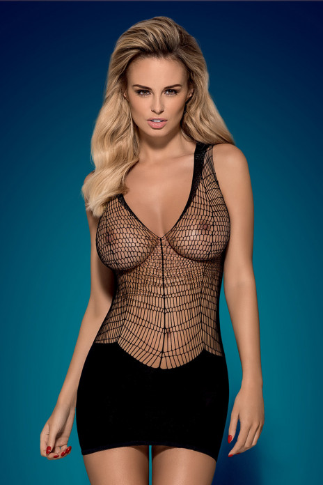 Black Fishnet Mini Dress - D603