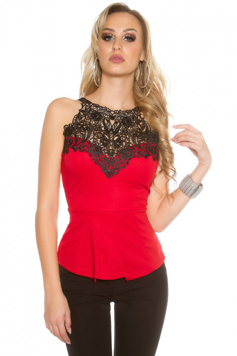 Crochet Lace Top Red