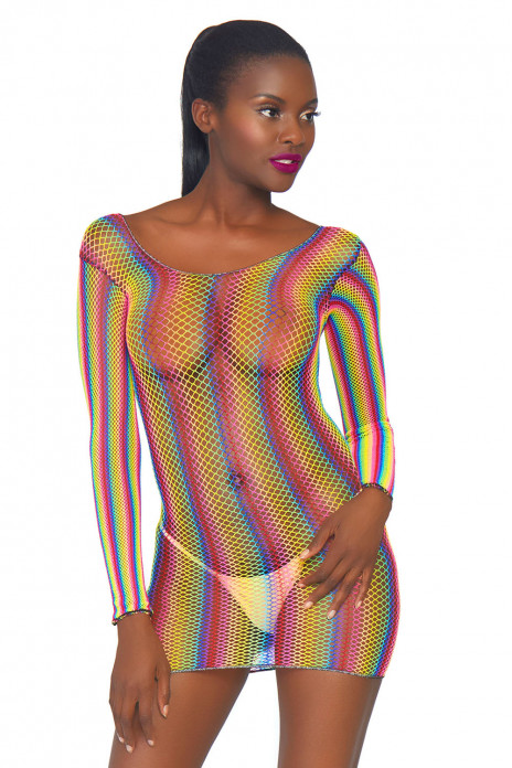 Rainbow Fishnet Minidress