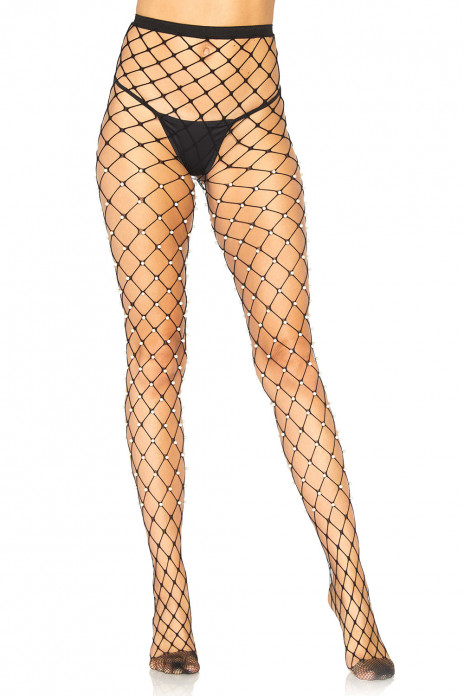 Faux Pearl Fence Net Tights