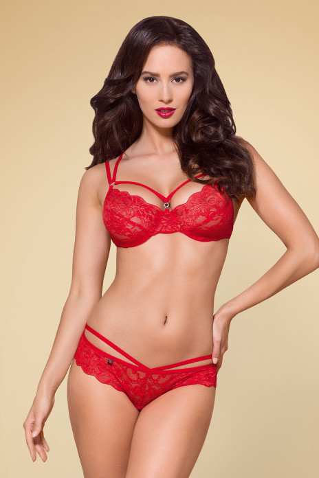 2pc Strappy Flower Lace Set Red