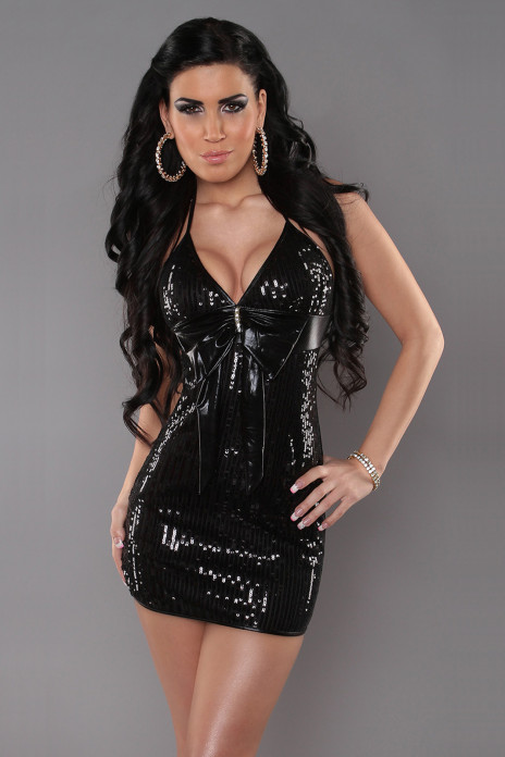 Black Halterneck Sequin Minidress