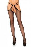 Leg Avenue Scalloped suspender hose Black