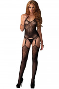 Lace Jacquard Bodystocking