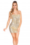 Gold/Beige Sequin Party Minidress