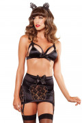 Exclusive 3pc Satin Lace Set