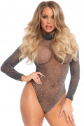 Lurex Bodysuit with Snap Crotch - Black & Silver