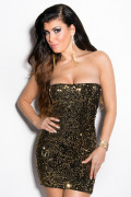 Black/Gold Sequin Party Minidress