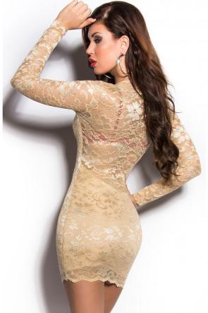 Sand Gold Lace Minidress