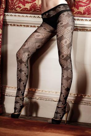 Black Net Diamond Pantyhose