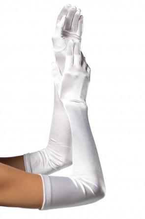 Extra Long Satin Gloves white
