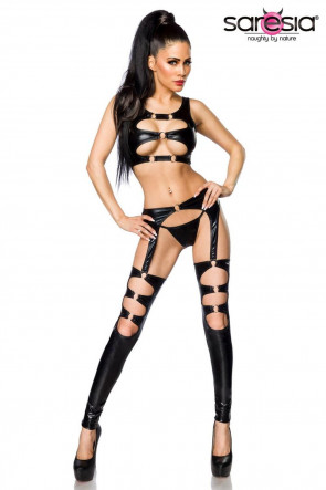 Wetlook garter set
