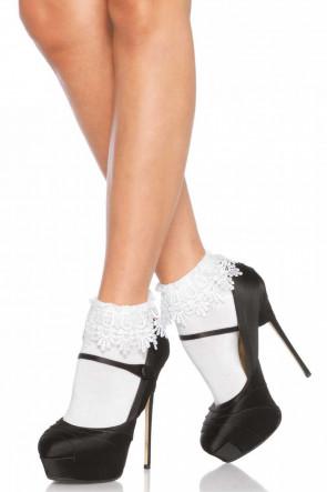 Venice Lace Top Socks White