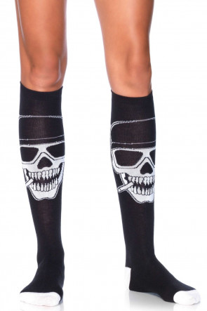 Leg Avenue Biker Babe skeleton knee highs Svart-Black