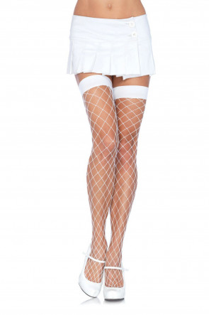 White Fence Net Thigh Highs