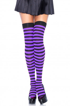 Striped Nylon Thigh Highs purple