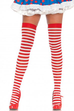 Nylon Stripe Thigh High
