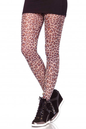 Paper Print Leopard Tights