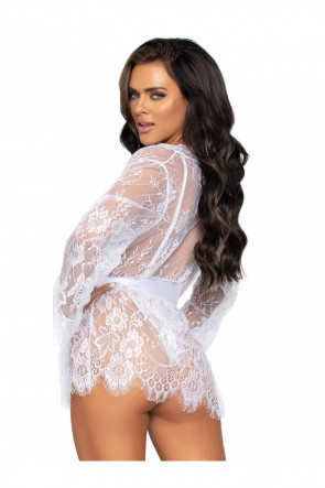3pc Floral lace teddy & robe
