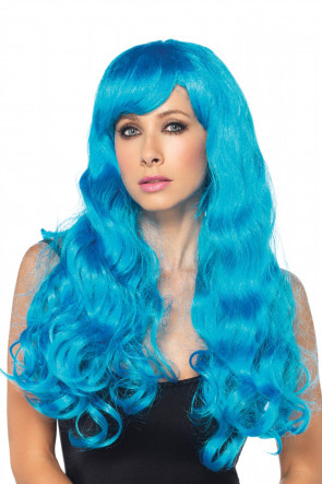 Neon Star Long Wavy Wig blue