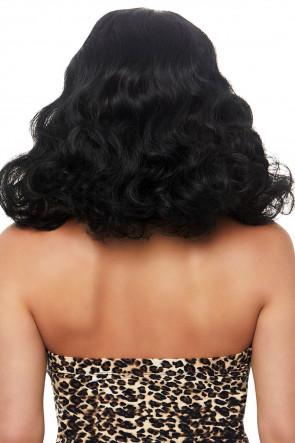 Retro bang curly bob wig