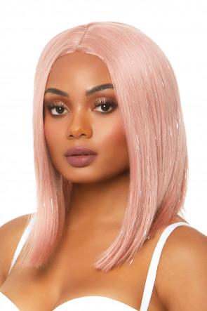 Long bob wig with tinsel pink