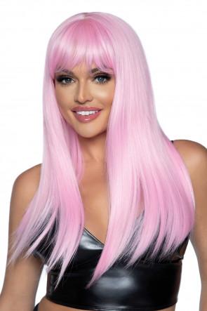 Long Straight Bang Wig pink