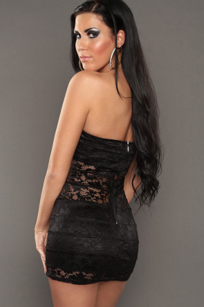 Black Bandeau Lace Minidress