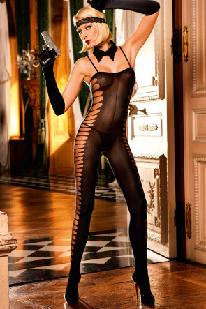 Sheer Jacquard Bodystocking