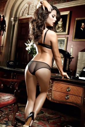 Pinstripe Mesh & Lace Thong