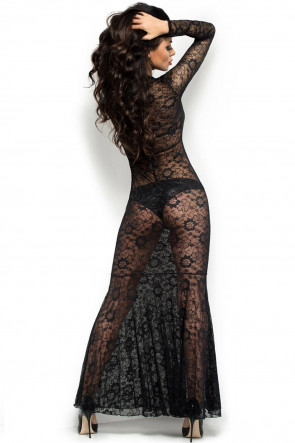 Black Lace Gown with Bra and Panties