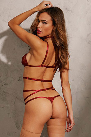 Red Diamond Strappy Garter Set