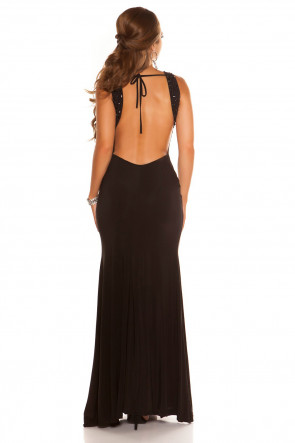 Black Backless Gown with Rhinestones