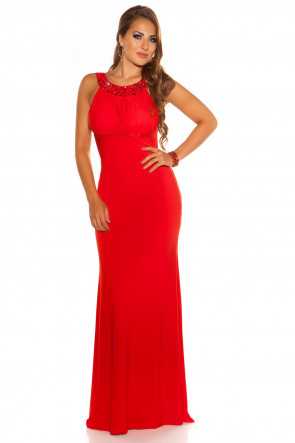 Red Backless Gown with Rhinestones