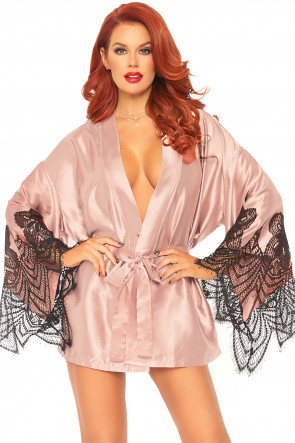 Satin Robe with Flared Sleeves