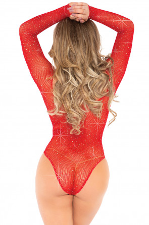 Red Fishnet Thong Bodysuit