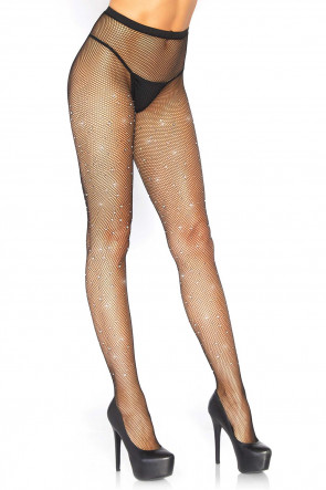 Rhinestone Micro Net Tights