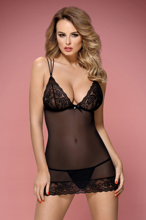 Strappy Lace and Mesh Chemise and Thong Set