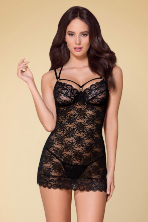 Fabulous Lace Chemise & Thong Black