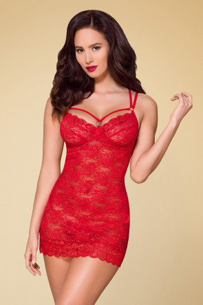 Fabulous Lace Chemise & Thong Red