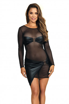 Queen of the Night - Minidress Daring Mesh Black
