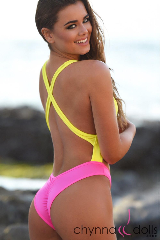 Verona 80 S Inspired Swimsuit Yellow Pink